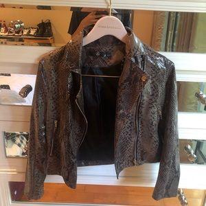 brown snakeskin biker jacket